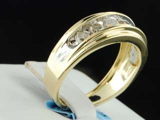 10K Mens Yellow Gold 7 Stone Diamond Engagement Ring Wedding Band 1