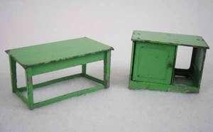 Tootsie Toys Green Metal Dollhouse Miniatures Furniture 2pc Lot