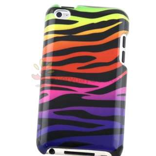 4x Colorful/Black Zebra Clip on Hard Case Cover For iPod Touch 4 4G