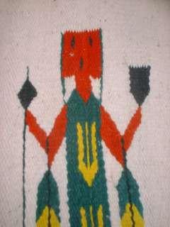 Vintage Native American Indian Woven Wool Rug 63x30 Corn Blanket Throw