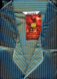 New Mens Satin Pajamas Sleepwear Blue Gold Stripes S L