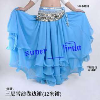 New Belly Dance Costume Three layers skirt 9 color Blue