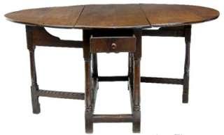 18TH CENTURY ANTIQUE COUNTRY OAK GATELEG TABLE c1790
