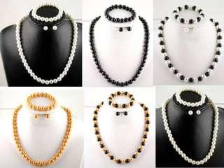 Faux Pearl SetNecklace+Bracelet+Pierced Earrings 18