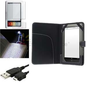 For Nook 1st Edition Leather Case+2 LCD Film+LED Reading Light+USB