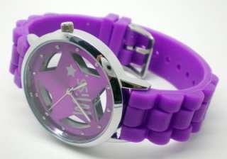 Purple Star Design Quartz Men/Womens Fashion Sport Wrist Watch with