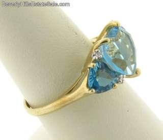 Heart Shaped Blue Topaz 14k Gold Ring