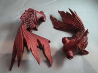 ANIQUE LO SE 2 HAND CARVED ASIAN WOODEN WOOD CARVED FISH FIGURE