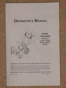 MTD SnowThrower 1999 Operator & Parts Manual List