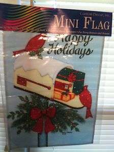 9329FL   Large Flag   Mailbox Cardinals   Christmas and Winter
