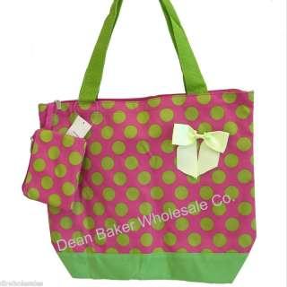 Large Polka Dot Pink Green Oversized Shopping Tote Bag