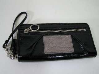 Poppy Black Patent Leather Large Wristlet Clutch Wallet Handbag