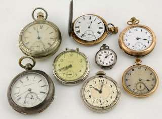 Men's Vintage Gold Plated Silvertone Coin Silver Pocket Watches