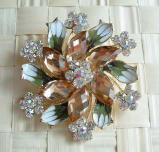VARY COLORS SWAROVSKI CRYSTAL BIG GOLD FLORAL PIN BROOCH 1257