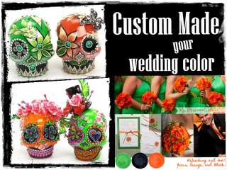 CUSTOM MADE SKULL WEDDING CAKE TOPPER GOTHIC DAY OF THE DEAD STYLE