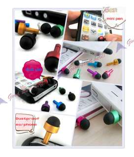 Earphone Jack Plug Dust Cover Mini Touch Pen Stylus 3.5mm For iPhone