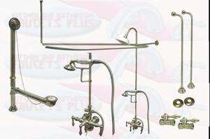 Nickel Clawfoot Tub Faucet With Drain, Water Supply Lines & Stops