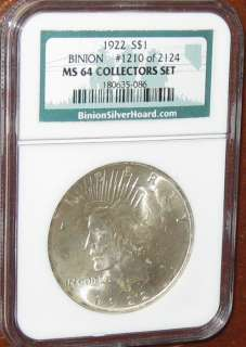 USA 1922 Peace Dollar NGC Graded MS64 Silver Coin Binion Hoard Choice