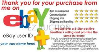 50  SELLER PROFESSIONAL LOOK 5 STAR DSR RATING THANK YOU CARDS FOR