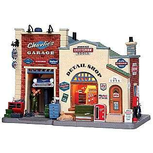 Porcelain Lighted House   Charlies Garage  Lemax Village Collection