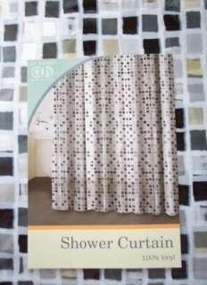 Black White Silver Metallic Mosaic Tile Vinyl Shower Curtain New