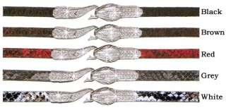 Narrow Snake Skin Belt w Rhinestone Cobra Hook Closure