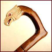 WHITE HAWK   Hand Carved Wooden Cane Walking Stick