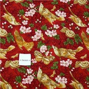 Fabric Lovely Gold Butterflies & Birds Red Background, FQs