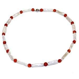 Biwa & Brown Crystal Pearl Necklace, 20 Jewelry