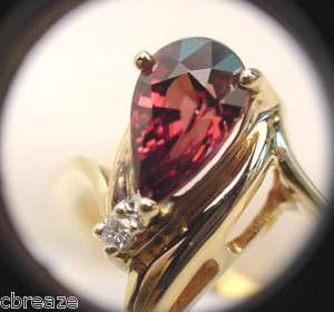 IMPERIAL PINK NATURAL ZIRCON & DIAMONDS 14K GOLD RING