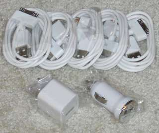 Lot iphone ipod USB Wall Charger Adapter + Car Charger Adapter + 5 USB