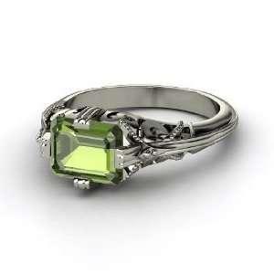 Acadia Ring, Emerald Cut Green Tourmaline Palladium Ring Jewelry