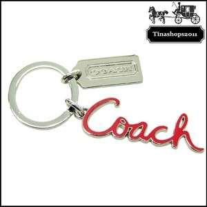 NEW COACH_Script Metal Silver Key Chain FOB ~ F92111