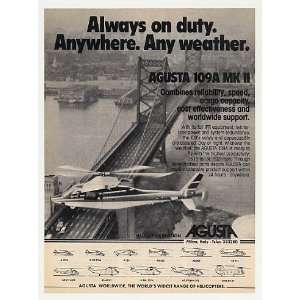 1982 Agusta 109A MK II Helicopter in Flight Photo Print Ad
