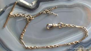 Antique gold filled 8.5 long pocket watch chain with snap hook, T bar
