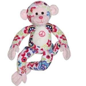 Retro Peace Monkey Flower Power Stuffed Animal Plush Toy