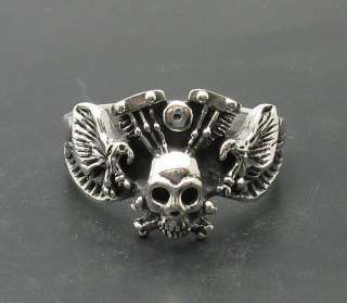 STERLING SILVER RING SKULL EAGLE BIKER 925 SIZE 5 14