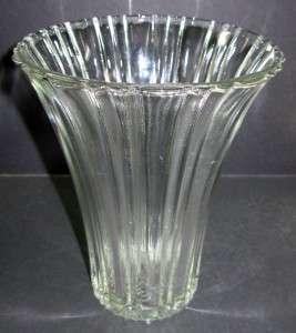 Clear Depression Glass Art Deco Modern Flower Vase 7 1/4 H