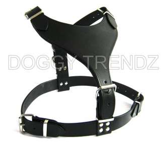 BLACK LEATHER DOG HARNESS ROTTWEILER TERRIER ALSATIAN