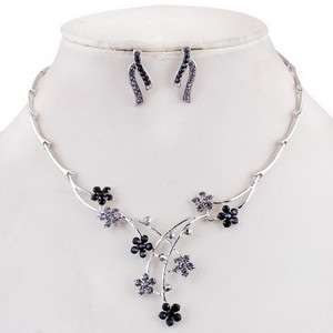 26962 Black Flowers Branch Joint Rhinestone Crystal Prom Necklace
