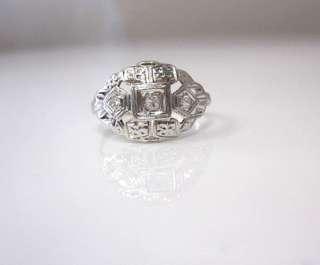 ANTIQUE ART DECO 3 DIAMOND & 14K WHITE GOLD FILIGREE BAND RING