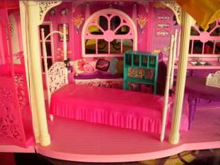 BARBIE DOLLS+DREAM TOWNHOUSE+FURNITURE+GLAMOUR CAMPER+JEEP