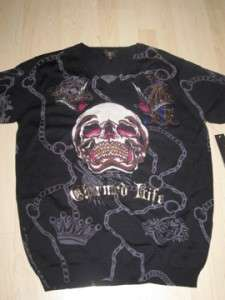 Christian Audigier Short Sleeve Sweater Shirt Rhinestones Black Size L