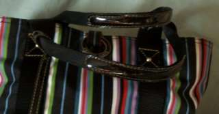 FRANCO SARTO BLACK RED STRIPE PATENT PURSE HAND BAG