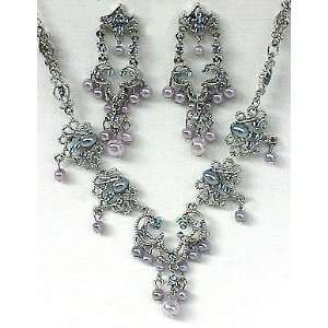 SWEETHEART BLUE RHINESTONE PEARL NECKLACE EARRING SET