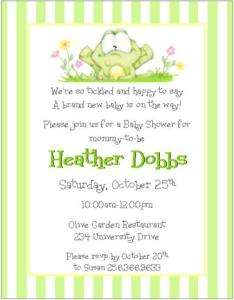 Cute colorful horsey custom baby shower invitations 12 cute frog with stripes baby shower invitationsnew filmwisefo
