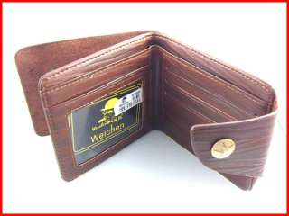 Coffee Brown PU Leather Zip Purse Wallet Coin ID Card Holder
