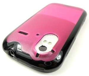 FOR HTC AMAZE 4G RUBY BLACK EDGE PINK TPU SOFT SKIN COVER CASE