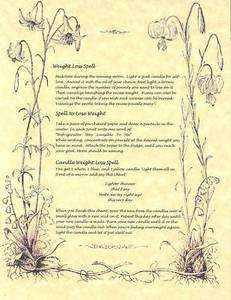Book of Shadows page Lose Weight Wiccan Weightloss Spells