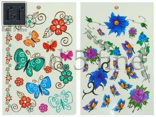New temporary Tattoo Flower Butterfly Sticker F2279